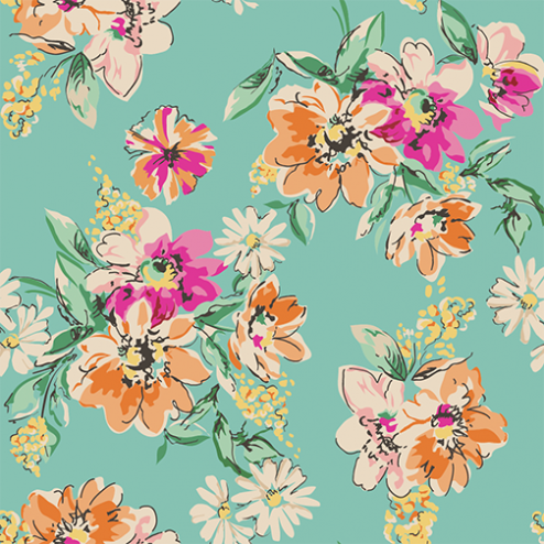 Orange and Pink Floral Pattern - Sample Kit