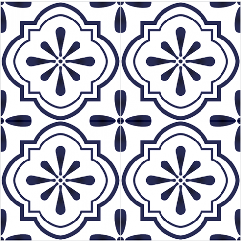 Blue Mosaic Floral Tile - Sample Kit