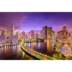 Miami, Florida Night Skyline