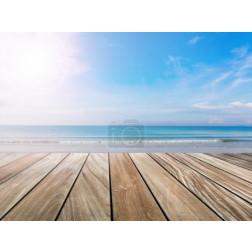 wood terrace on the beach and sun light