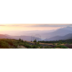 Panorama of Mountain range, one minute before the time of sunris