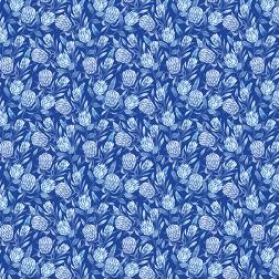Blue Protea Floral Pattern