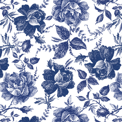 Blue Southern Rose Pattern