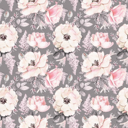 Pink & Gray Watercolor Roses Pattern
