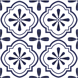 Blue Mosaic Floral Pattern