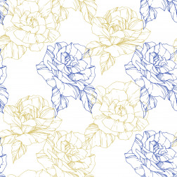 Blue & Gold Floral Outline Pattern