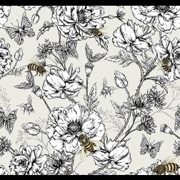 Honeybee Floral Pattern