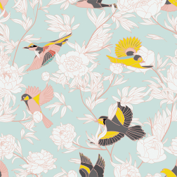 Pastel Birds and Branches Pattern - Sample Kit