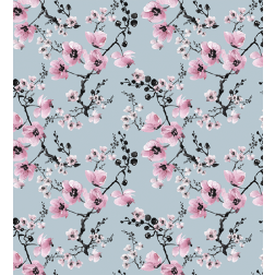 Pink and Blue Watercolor Floral Pattern