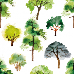 Watercolor Trees Pattern - Sample Kit